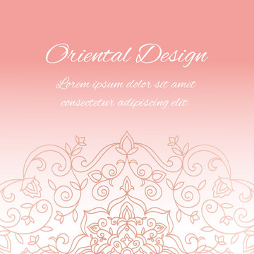 Rose gold luxury background royal pattern vector. Vintage wedding invitation. Arabesque design for bridal party, beauty spa salon flyer, anniversary, save the date cards, holiday template.