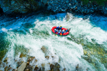 White water rafting on alpine river