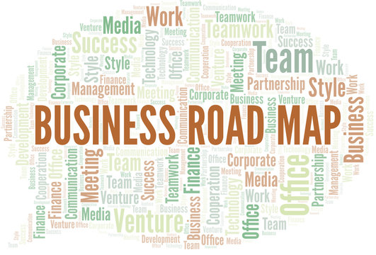 Business Road Map word cloud. Collage made with text only.