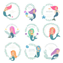 A set of beautiful mermaids with wrealth. Fish, jellyfish, algae and other marine world. Template vector illustration.