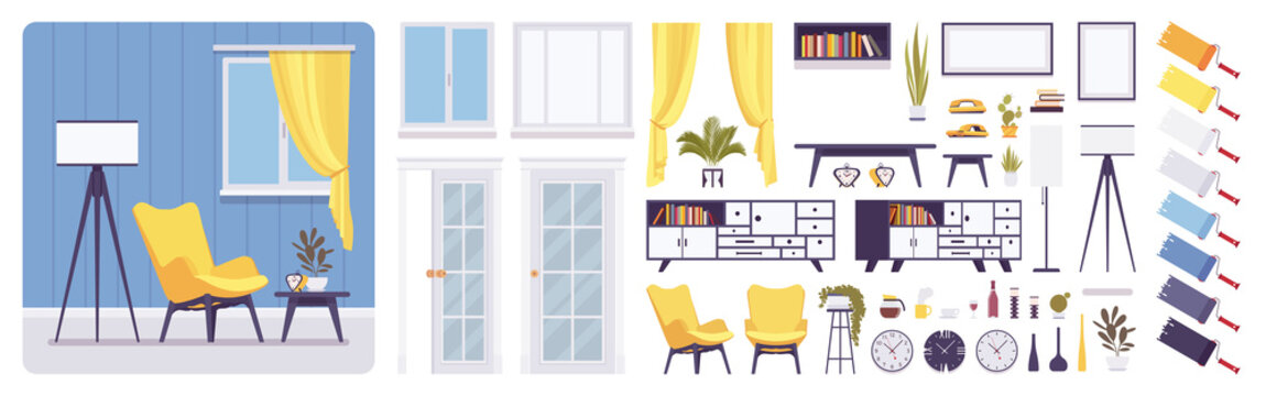 Living room interior, home, office creation set, modern inspirational decoration, kit with furniture, constructor elements, build own design. Cartoon flat style infographic illustration, color palette