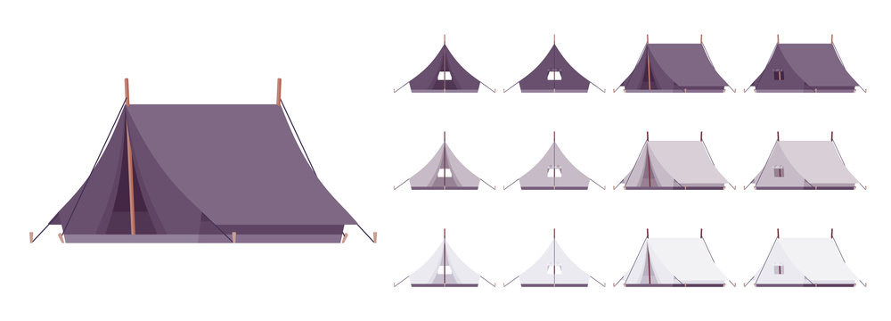 Tent shelter set. Gear for outdoor camping, mountaineering, hiking or beach holiday protection. Vector flat style cartoon illustration isolated on white background, different views and color