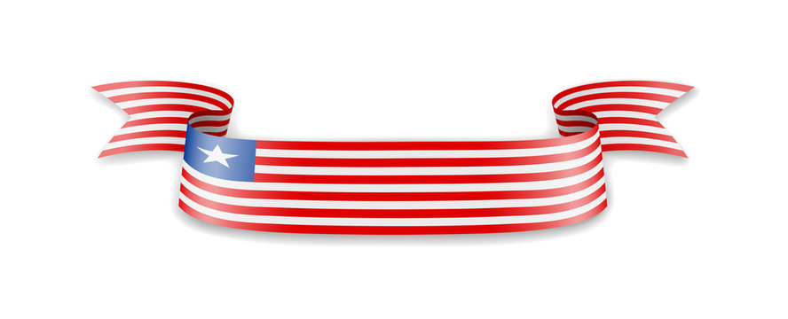 Liberia flag in the form of wave ribbon.