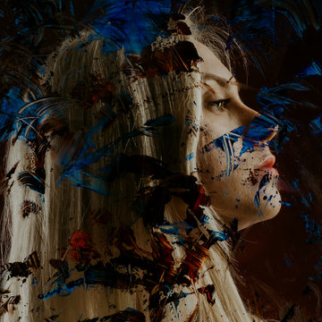 Profile of a young woman behind glass in paint. The concept of suffering girls autistic.
