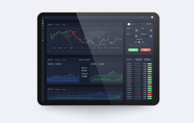 Trading platform interface with infographic elements. Trade UI, great design for any purposes. Trade concept.Web site screen template. forex market,news and analysis.Binary option. Vector illustration