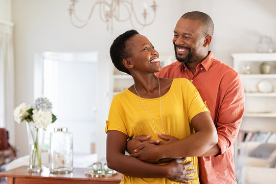 Loving mature couple embracing