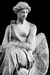Wall Mural - Antique stone statue of an angel isolated on black background.