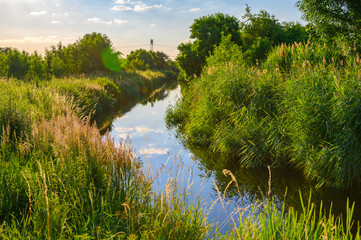 Blue sky over a little creek in the surrounding countryside of Berlin, Germany. Wall mural