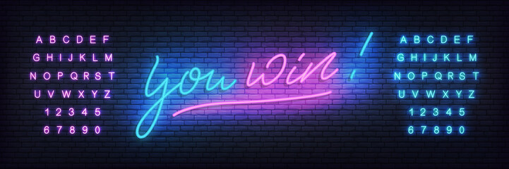 You win neon template. Neon lettering banner You win for casino, gambling, online games.