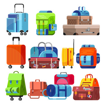 Travel bag vector luggage suitcase for journey vacation tourism illustration set of trip baggage and tour adventure case or handbag for tourist isolated on white background