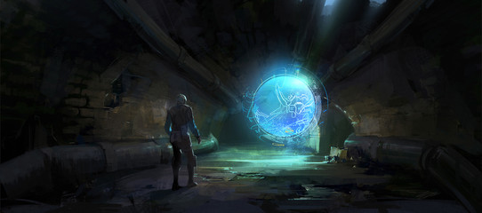 The holographic image unfolded in the dark tunnel,Digital Illustration.