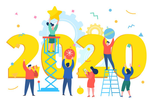 Business people, man and woman building a numbers 2020, in flat modern style. preparing to meet the new year .