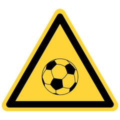 Fußball und Warnschild