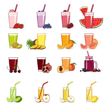 Vector Set of Cartoon Glasses with Fruits and Berries Juice