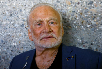 Former U.S. astronaut Buzz Aldrin poses for a photo before a news conference of the Starmus Festival V in Zurich