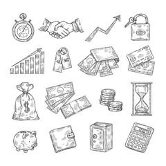 Sketch money. Hand drawn coin pile piggy bank credit cards safe dollar vintage banking business finance vector doodle icons. Illustration of money dollar, safe cash in pig bank