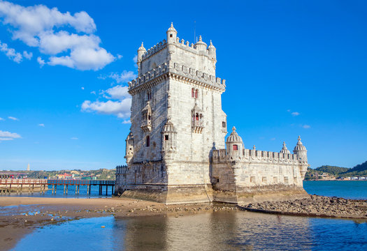 famous Belem Tower in Lisbon , Portugal