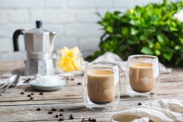 Keto, ketogenic bulletproof coffee with coconut oil and ghee butter Fotoväggar