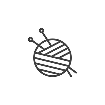 Yarn ball and needles line icon. linear style sign for mobile concept and web design. Sewing needles and skein of wool outline vector icon. Symbol, logo illustration. Vector graphics