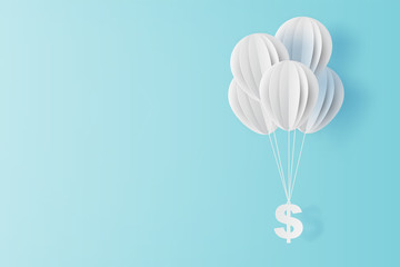 illustration of balloon fly with dollar sign on blue sky. Business and management concept idea.Creative design paper cut and craft style scene for your text.By pastel color.Financial exchange.vector