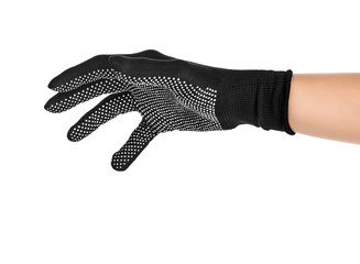 Gesture to throw. Hand in black cloth glove on isolated white background.