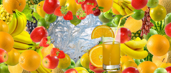 Fototapete - image of juice in a glass against many fruits and berries close-up