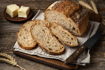 Tuinposter Brood slices of freshly baked homemade sour dough bread