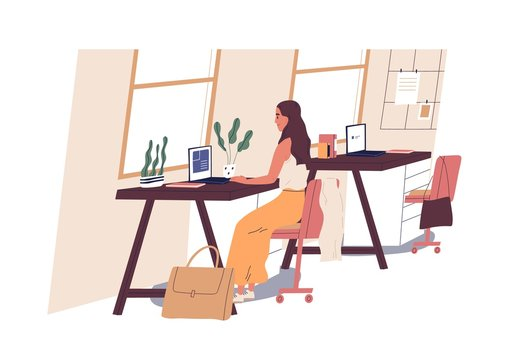 Cute woman sitting at desk and working on laptop computer at office. Young professional or female employee at workplace. Daily routine, everyday life. Flat cartoon colorful vector illustration.