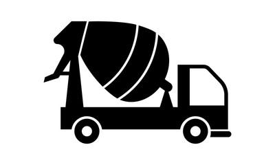 best concrete mixer truck. Black silhouette on white background. Vector Illustration. - Vector