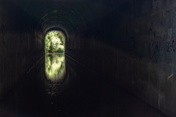 A tunnel with running water and an exit in the distance. there's light at the end of the tunnel. Wall mural