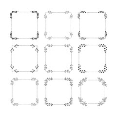 Set of hand drawn squared frames. Text decoration.