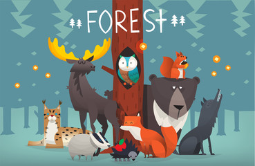 Portrait of friendly typical wild forest animals taking picture in the woods on sunset with trees on the background. Vector illustration