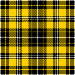 Yellow, black and white tartan plaid pattern. Flannel textile pattern / seamless background. - fototapety na wymiar
