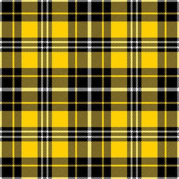 Yellow, black and white tartan plaid pattern. Flannel textile pattern / seamless background.