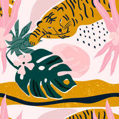 Wall Mural - Hand drawn tropical jungle leaves, tiger and various shapes. Abstract contemporary seamless pattern. Modern patchwork illustration in vector