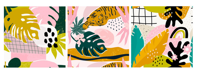 Wall Mural - Set of three hand drawn seamless patterns. Tropical jungle leaves, tiger, various shapes. Abstract contemporary seamless patterns. Modern patchwork illustrations in vector. Every pattern is isolated