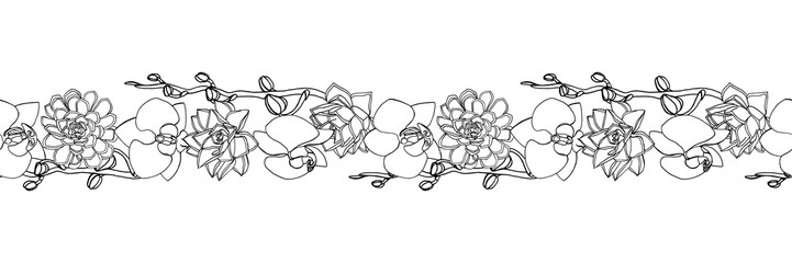 Hand drawn doodle style succulent and orchid flowers .seamless brush, endless border.