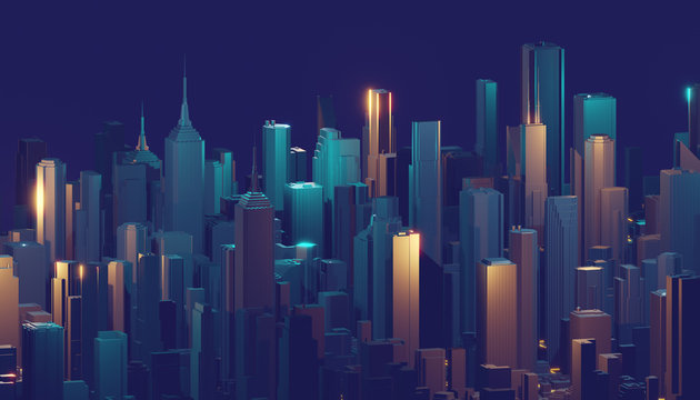 3D image render, Aerial view of cityscape background. 3d rendering.