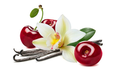 Sweet cherry and vanilla pods isolated on white background