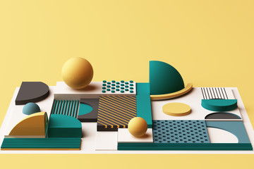 Design with composition of geometric shapes in yellow and green tone. 3d rendering illustration