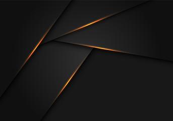 Abstract gold light on dark grey metallic polygon design modern futuristic background vector illustration. Fototapete