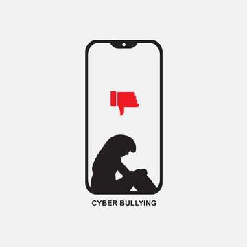 .cyber bullying  phone with sad woman ,icon vector
