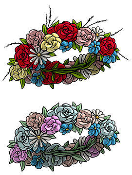 Cartoon colorful flower wreath with roses, chamomile and wild flowers. Isolated on white background. Vector icon set.
