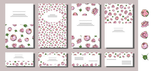 Set of floral card templates with hand drawn pink roses. Use for invitations, greeting cards, wedding cards, romantic design, festive announcements, posters. Template with vector rose branches