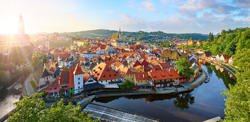 Fototapete - Czech Krumlov Czech Republic. View at old european town and river Vltava. Travel and landmark panorama.