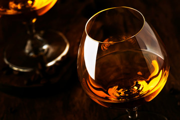 Armagnac, French grape brandy, strong alcoholic drink. Still life in vintage style, selective focus Fototapete