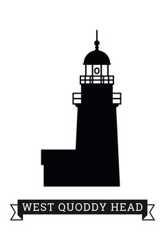 West Quoddy Head lighthouse silhouette vector