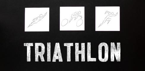 Triathlon. swim bike run. man training for ironman. Professional cyclist, runner, swimmer. Three pictures composite of fitness athlete running, biking, and swimming.