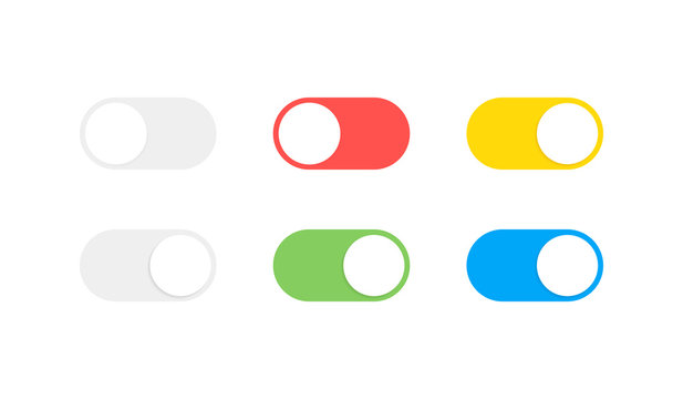 On and Off toggle switch buttons. Modern flat style vector illustration