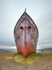 Garden Poster Shipwreck Old ruined ship wreck parked on beach, Iceland